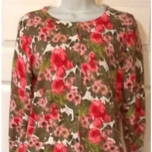 Talbots Size Small Woman's Floral Cardigan